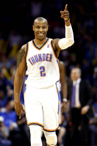 Oklahoma City Thunder's Caron Butler (2) reacts after a three point shot in the second half of an NBA basketball game where the Oklahoma City Thunder beat the Los Angeles Lakers 131-102 at the Chesapeake Energy Arena in Oklahoma City, on March 13, 2014. PHOTO BY STEVE SISNEY, The Oklahoman