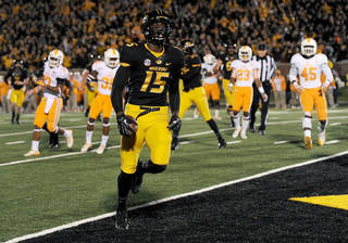 Missouri wide receiver Dorial Green-Beckham runs into the end zone after catching a 9-yard pass for a touchdown during the first half of an NCAA college football game against Tennessee, Saturday, Nov. 2, 2013, in Columbia, Mo. (AP Photo/L.G. Patterson)