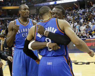 Oklahoma City's Reggie Jackson (15) celebrates with Russell Westbrook (0) and Serge Ibaka (9) after Game 4 in the first round of the NBA playoffs between the Oklahoma City Thunder and the Memphis Grizzlies at FedExForum in Memphis, Tenn., Saturday, April 26, 2014. Photo by Bryan Terry, The Oklahoman