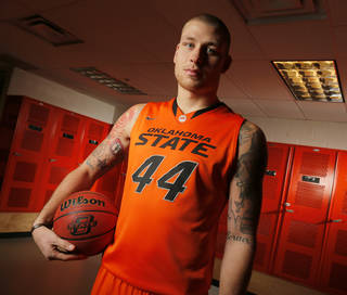 COLLEGE BASKETBALL: OSU's Philip Jurick (44) poses for a photo during basketball media day for Oklahoma State University at Gallagher-Iba Arena in Stillwater, Okla., Monday, Oct. 22, 2012. Photo by Nate Billings, The Oklahoman