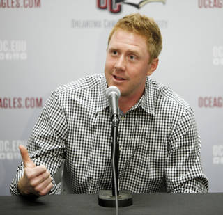 Former Oklahoma State University (OSU) college football quarterback Brandon Weeden speaks at a press conference for the Oklahoma Christian baseball team in Oklahoma City, OK, Friday, February 8, 2013, By Paul Hellstern, The Oklahoman