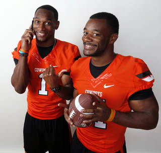 Oklahoma State's Joseph Randle, left, and Jeremy Smith combined for 1,862 yards and 33 touchdowns rushing last season. Photo by Nate Billings, The Oklahoman
