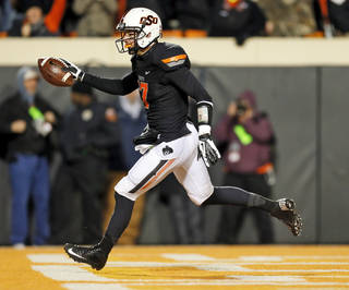Oklahoma State's Charlie Moore caught a key touchdown pass in the Cowboys' win over Baylor. Photo by Nate Billings, The Oklahoman
