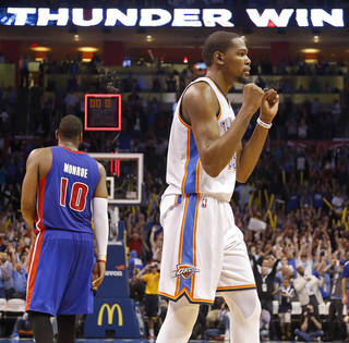 Oklahoma City's Kevin Durant (35) reacts after the 112-111 win over Detroit during the NBA basketball game between the Oklahoma City Thuder and the Detroit Pistons at Chesapeake Energy Arena in Oklahoma City, Okla. on Wednesday, April 16, 2014. PHOTO BY CHRIS LANDSBERGER, The Oklahoman