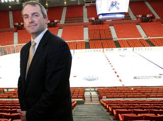 Bob Funk Jr., poses in front of the ice at the Cox Convention Center following a press conference in downtown Oklahoma City on Tuesday, Feb. 9, 2010. Photo by John Clanton, The Oklahoman