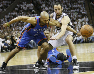 Oklahoma City's Derek Fisher (37) knocks the ball away from San Antonio's Manu Ginobili (20) during Game 5 of the Western Conference Finals between the Oklahoma City Thunder and the San Antonio Spurs in the NBA basketball playoffs at the AT&T Center in San Antonio, Monday, June 4, 2012. The Thunder won, 108-103. Photo by Nate Billings, The Oklahoman