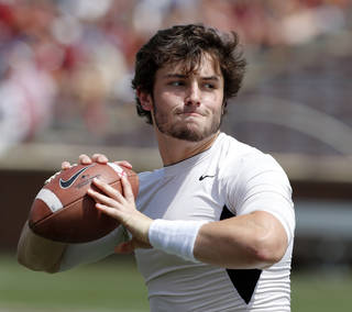 Baker Mayfield warms up before the Spring College Football Game of the University of Oklahoma Sooners (OU) at Gaylord Family-Oklahoma Memorial Stadium in Norman, Okla., on Saturday, April 12, 2014. Photo by Steve Sisney, The Oklahoman