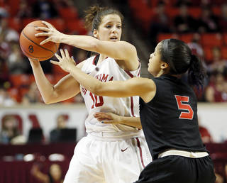 Oklahoma's Morgan Hook (10) looks to pass around Cal State Northridge's Ashlee Guay (5) in the first half during a women's college basketball game between the University of Oklahoma (OU) and Cal State Northridge at the Lloyd Noble Center in Norman, Okla., Saturday, Dec. 29, 2012. Photo by Nate Billings, The Oklahoman