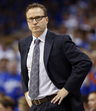 In the midst of the playoffs and recent criticism, Thunder coach Scott Brooks is showing a different side of his personality. Photo by Nate Billings, The Oklahoman