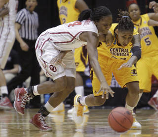Oklahoma's Sharane Campbell, left, and Central Michigan's Crystal Bradford chase a loose ball during the first half of a first-round game in the women's NCAA college basketball tournament Saturday, March 23, 2013, in Columbus, Ohio. (AP Photo/Jay LaPrete) ORG XMIT: OHJL103