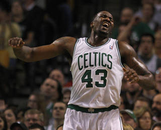 NBA BASKETBALL: Boston Celtics center Kendrick Perkins (43) reacts after a called foul during the second half. Boston Celtics take on the Cleveland Cavaliers at TD Garden. PHOTO BY BARRY CHIN, Courtesy The Boston Globe