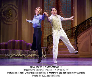 """Kelli O'Hara and Matthew Broderick star as Billie Bendix and Jimmy Winter in """"Nice Work If You Can Get It"""" Photo by Joan Marcus Photo by Joan Marcus"""