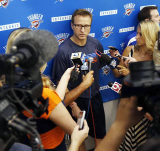Head coach Scott Brooks speaks during media availability after practice for the Oklahoma City Thunder NBA basketball team in Oklahoma City, Wednesday, April 23, 2014. Photo by Nate Billings, The Oklahoman