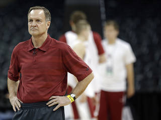 Oklahoma's Lon Kruger watches practice for the NCAA men's basketball tournament practice at the Spokane Arena in Spokane, Wash., Wednesday, March 19, 2014.Photo by Sarah Phipps, The Oklahoman