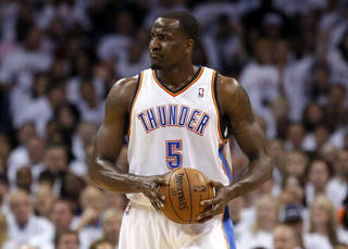 Oklahoma City's Kendrick Perkins (5) reacts after a call during Game 2 in the second round of the NBA playoffs between the Oklahoma City Thunder and the Memphis Grizzlies at Chesapeake Energy Arena in Oklahoma City, Tuesday, May 7, 2013. Photo by Sarah Phipps, The Oklahoman