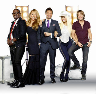 Featuring host Ryan Seacrest and new judges Mariah Carey, Nicki Minaj and Keith Urban, along with returning judge Randy Jackson, the 12th season of AMERICAN IDOL begins with the exciting two-night premiere Wednesday, Jan. 16 (8:00-10:00 PM ET/PT) and Thursday, Jan. 17 (8:00-9:00 PM ET/PT). Pictured L-R: Randy Jackson, Mariah Carey, Ryan Seacrest, Nicki Minaj and Keith Urban. CR: George Holz / FOX