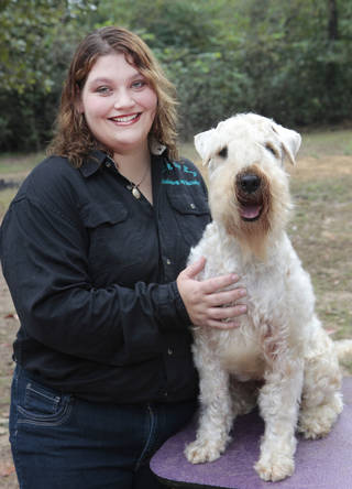 JaNell Mayberry and her dog Bond who won the Wheaten Ambassador Award a national service award at her home in Jones, Wednesday, October 2, 2013. Photo by David McDaniel, The Oklahoman