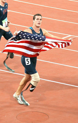 Jeremy Campbell, of Edmond, will compete in the upcoming 2012 London Paralympic Games wearing a carbon fiber prosthetic leg designed by Oklahoma City Prosthetist Chad Simpson of Hanger Clinic. He competed in the 2008 Beijing Paralympic Games. Photo provided.