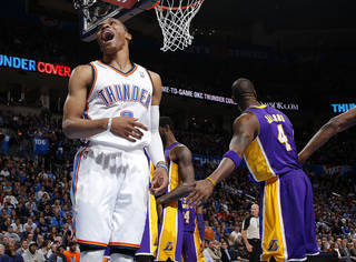 Oklahoma City's Russell Westbrook (0) reacts during an NBA basketball game between the Oklahoma City Thunder and the Los Angeles Lakers at Chesapeake Energy Arena in Oklahoma City, Tuesday, March. 5, 2013. Photo by Bryan Terry, The Oklahoman