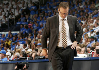Oklahoma City coach Scott Brooks walks the sidelines during Game 2 in the first round of the NBA playoffs between the Oklahoma City Thunder and the Memphis Grizzlies at Chesapeake Energy Arena in Oklahoma City, Monday, April 21, 2014. Photo by Nate Billings, The Oklahoman
