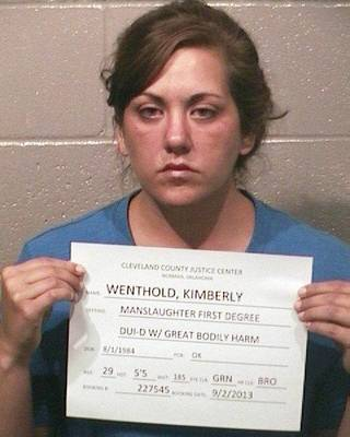 Kimberly Wenthold, 29, of Slaughterville, who was booked into the Cleveland County jail on first-degree manslaughter Monday in the death of an 8-year-old girl.