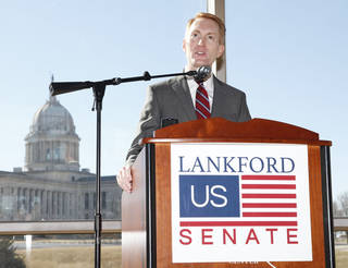 U.S. Rep. James Lankford announces his run for the Senate seat being vacated by Sen. Tom Coburn on Monday during a news conference at the Oklahoma History Center in Oklahoma City. Photo by Paul Hellstern, The Oklahoman