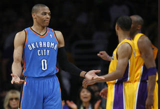 Oklahoma City's Russell Westbrook (0) reacts during Game 4 in the second round of the NBA basketball playoffs between the L.A. Lakers and the Oklahoma City Thunder at the Staples Center in Los Angeles, Saturday, May 19, 2012. Photo by Nate Billings, The Oklahoman