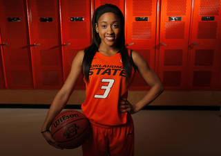 WOMEN'S COLLEGE BASKETBALL: OSU's Tiffany Bias (3) poses for a photo during basketball media day for Oklahoma State University at Gallagher-Iba Arena in Stillwater, Okla., Monday, Oct. 22, 2012. Photo by Nate Billings, The Oklahoman