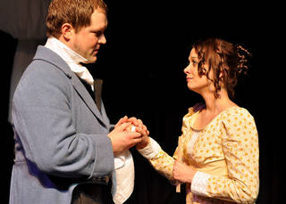 """Tyler Woods (Mr. Darcy) and Jennifer Wells (Elizabeth Bennet), seen here in a 2009 production of """"Pride and Prejudice,"""" will reprise their roles during a staged reading of the play at this year's Jane Austen Festival. Photo provided"""