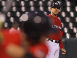Oklahoma City Redhawks manager Tony DeFrancesco returned to coaching after six weeks of cancer treatment during a Minor League Baseball game between the Oklahoma City Redhawks and the Omaha Storm Chasers at Chickasaw Bricktown Ballpark in Oklahoma City on May 27, 2014.