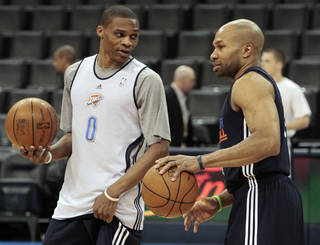 CHESAPEAKE ENERGY ARENA / OKLAHOMA CITY THUNDER / MIAMI HEAT / NBA FINALS / NBA BASKETBALL: Russell Westbrook and Derek Fisher talk during practice for game two of the NBA basketball finals at the Chesapeake Arena on Wednesday, June 13, 2012 in Oklahoma City, Okla. Photo by Steve Sisney, The Oklahoman