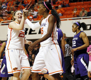 Oklahoma State's Lindsey Keller (25) and Toni Young (15) react in front of Kansas State's Mariah White (22) after Young made a shot and was fouled during an NCAA women's basketball game between Oklahoma State University (OSU) and Kansas State at Gallagher-Iba Arena in Stillwater, Okla., Saturday, Feb. 16, 2013. Photo by Nate Billings, The Oklahoman