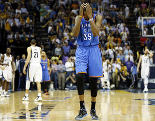 Oklahoma City's Kevin Durant (35) reacts after Memphis' Tony Allen (9) stole a Thunder inbounds pass with 21.1 second left in overtime during Game 4 of the second-round NBA basketball playoff series between the Oklahoma City Thunder and the Memphis Grizzlies at FedExForum in Memphis, Tenn., Monday, May 13, 2013. Memphis won 103-97 in overtime. Photo by Nate Billings, The Oklahoman