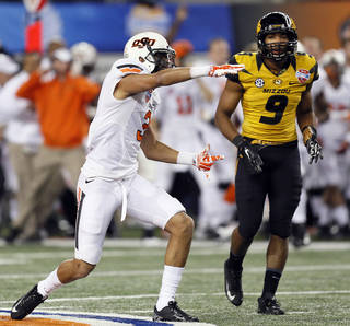 Oklahoma State's Marcell Ateman (3) made one of the most untalked about plays of the Cotton Bowl. Photo by Nate Billings, The Oklahoman