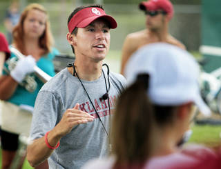 MARCHING BAND / PRACTICE: Band director Justin Stolarik rehearses The Pride of Oklahoma Band of the University of Oklahoma (OU) on Friday, Aug. 23, 2013 in Norman, Okla. Photo by Steve Sisney, The Oklahoman