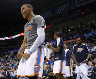 Oklahoma City's Russell Westbrook (0) reacts during an NBA basketball game between the Oklahoma City Thunder and the Minnesota Timberwolves at Chesapeake Energy Arena in Oklahoma City, Wednesday, Jan. 9, 2013. Oklahoma City won 106-84. Photo by Bryan Terry, The Oklahoman