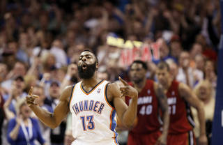 REACTION: Oklahoma City's James Harden (13) reacts after a shot during the NBA basketball game between the Miami Heat and the Oklahoma City Thunder at Chesapeake Energy Arena in Oklahoma City, Sunday, March 25, 2012. Photo by Nate Billings, The Oklahoman