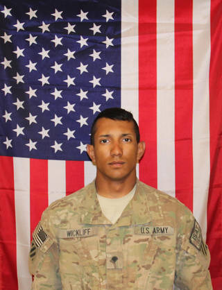 Spc. James T. Wickliffchacin, 22, of Edmond, Okla., died Sept. 20 at Brooke Army Medical Center in San Antonio, Texas, of injuries sustained when an improvised explosive device detonated near his dismounted patrol during combat operations in Pul-E-Alam, Afghanistan on Aug. 12. SPC Wickliffchacin, 3rd Infantry Division, was awarded the Purple Heart and Army Commendation Medal with Valor posthumously. Photo provided by the U.S. Army