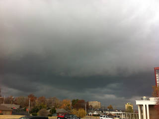 Skies darken in Oklahoma City as the anticipated cold front gets closer. Photo by Robert Medley