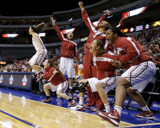 photo - The Oklahoma bench celebrates during the Big 12 tournament women&#039;s college basketball game between the University of Oklahoma and West Virginia at American Airlines Arena in Dallas, Saturday, March 9, 2012. Oklahoma won 65-64.  Photo by Bryan Terry, The Oklahoman