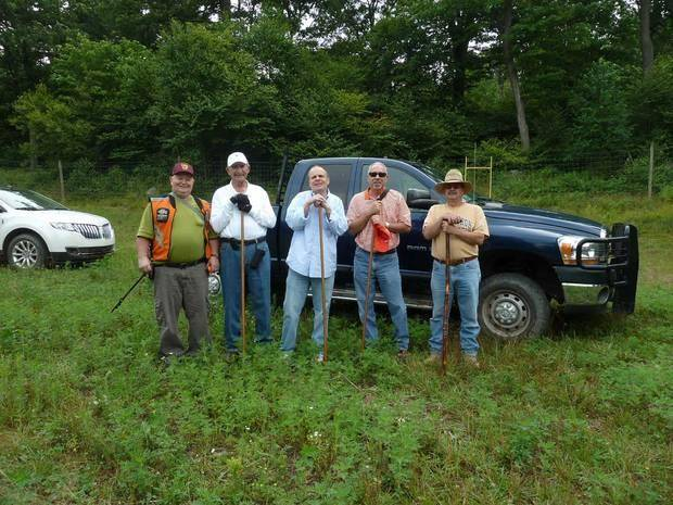 photo - The search party before they set out to find the 1945 crash site and memorial in July. From left is Thomas Zangla, Ray Cohlmia, John Salem, George Cohlmia and Dennis Turriziani. Photo provided