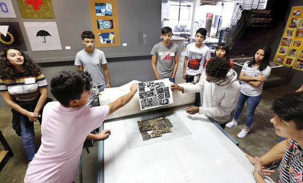 Students from Santa Fe South High School are creating art projects at the Artspace at Untitled gallery, 1 NE 3, in Deep Deuce District. Story is about changes at the organization, dramatically increased numbers of visitors to the gallery, and youth outreach projects. Wednesday, Aug. 15, 2018. Photo by Jim Beckel, The Oklahoman