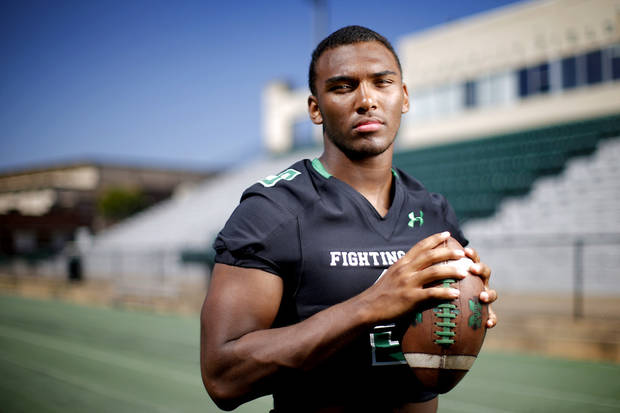 Brynden Walker of Bishop McGuinness poses for a photo for The Oklahoman's Super 30 football series at Bishop McGuiness High School in Oklahoma City, Tuesday, June 25, 2019. [Bryan Terry/The Oklahoman]