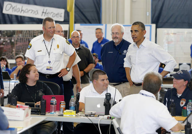 President Barack Obama greets first responders on May 26, 2013, at Moore Fire Station No. 1 in Moore. [Photo by Bryan Terry, The Oklahoman]