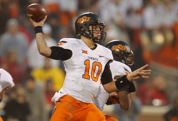 <p>OSU's Mason Rudolph throws a pass during last year's Bedlam victory against OU. <br/>[Photo by Bryan Terry, The Oklahoman archives]</p>