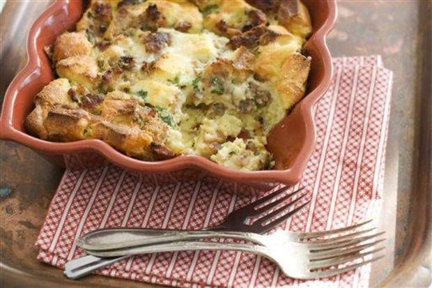 photo - In this image taken on Jan. 7, 2013, Valentine's Day breakfast-in-bed egg strata is shown in Concord, N.H. (AP Photo/Matthew Mead)