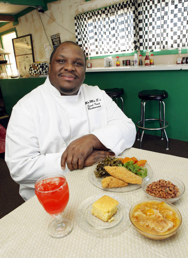 Chef Keith Patterson serves fried catfish, collard greens, yams, black-eyed peas, cornbread, peach cobbler, and Kool-Aid at MaMa E's Soul Food. [Nate Billings/The Oklahoman]