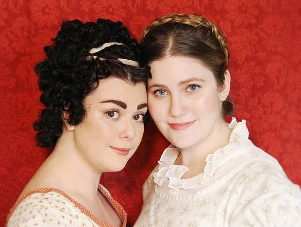 "Ashley Frisbee, left, plays Marianne Dashwood and Madeline Dannenberg plays Elinor Dashwood in Oklahoma Shakespeare in the Park's new production of ""Sense and Sensibility."" The company is staging actress/playwright Kate Hamill's new adaptation of Jane Austen's beloved novel Aug. 9-25 in its intimate Paseo Arts District space. [Photo by April Porterfield]"