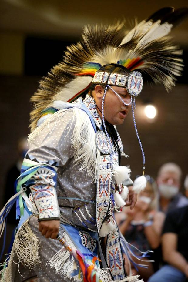 Marty Thurman, who is Sac and Fox, performs a grass dance during a dance exhibition by the Central Plains Dancers at the Red Earth Festival at Grand Event Center at the Grand Casino Hotel & Resort, Saturday, Sept. 5, 2020. [Bryan Terry/The Oklahoman]