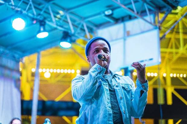 Rapper Jabee performs at the 2018 OKC Tree Lighting Festival. He will perform again at this year's event, set for 5 to 7 p.m. Friday on the Third Base Plaza at the Chickasaw Bricktown Ballpark. [Photo provided]